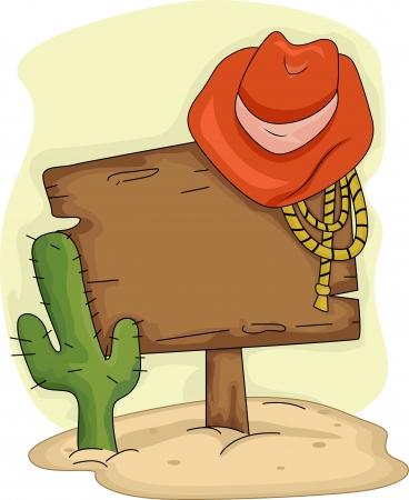 Illustration of a Wooden Blank Sign Board with a Cowboy Hat Placed on it illustration