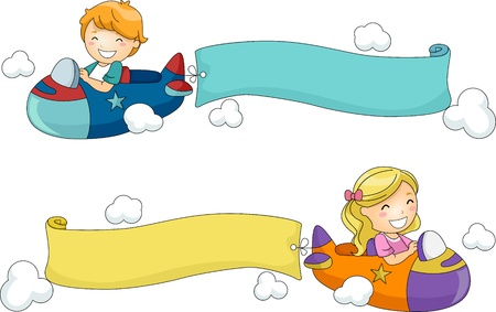 airplane cartoon: Illustration of Kids Riding Toy Airplanes with Banners Attached to Them