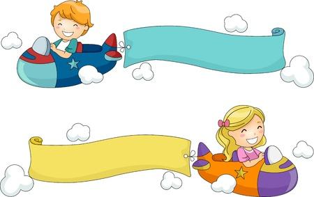 serpentinas: Ilustración de los niños montando aviones de juguete con banderas unidas a ellas