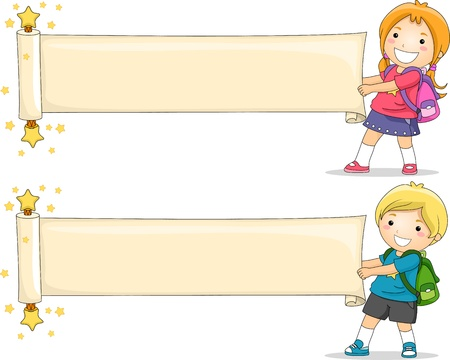 school bag: Illustrazione di bambini Unfolding una Pergamena in bianco di carta