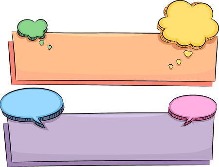 Banner Illustration Featuring Blank Speech Balloons illustration