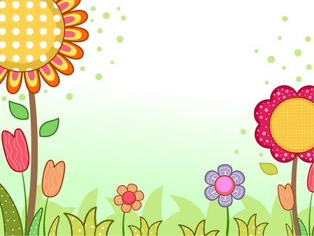 Background Illustration Featuring Different Flowers illustration
