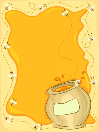 honey jar: Background Illustration Featuring Honeybees Buzzing Around a Jar of Honey