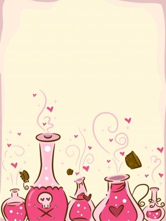 pocion: Ilustración del fondo que ofrece filtros de amor Foto de archivo