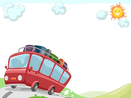 outing: Background Illustration Featuring a Tour Bus