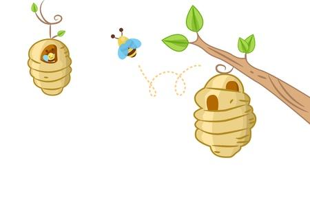 colmena: Ilustración del fondo que ofrece una abeja que sale de una colmena de abejas