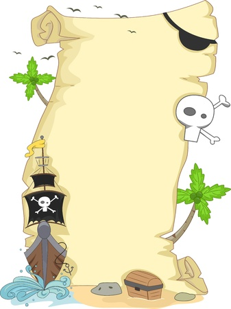 island clipart: Background Illustration Featuring a Scroll with a Pirate Theme