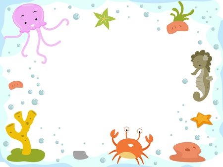 Background Illustration Featuring a Seahorse, an Jellyfish, and a Crab illustration
