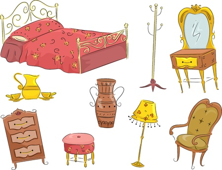 coat rack: Illustration of an Assortment of Vintage Furniture Including a Bed, a Dresser, a Wardrobe, a Chair, and a Lamp Stock Photo