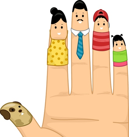 Illustration of Fingers Dressed Up as a Complete Family illustration