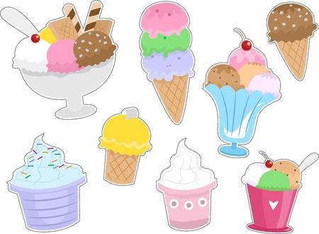 coppa di gelato: Illustrazione dei diversi tipi di gelato pronto da stampare come adesivi Archivio Fotografico