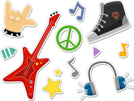 Illustration Featuring Rock Music Related Elements that Can be Printed Out as Stickers illustration