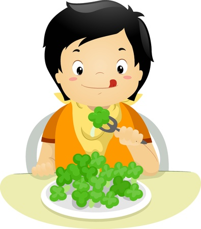 Illustration of a Boy Eating Brocolli illustration