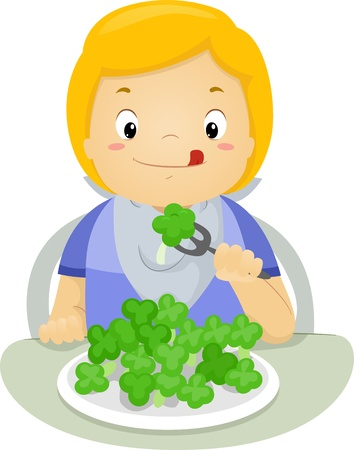 children eating: Illustration of a Boy Eating Brocolli