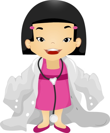 Illustration of a Girl Wearing an Oversized Doctors Laboratory Coat illustration
