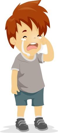 niño llorando: Ilustración de un muchacho con lágrimas corriendo por su rostro