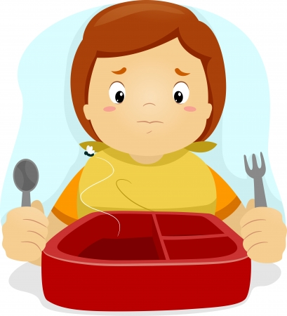hungry kid: Illustration of a Disappointed Boy Looking at His Lunchbox