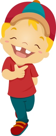 high spirits: Illustration of a Boy Beaming Happily