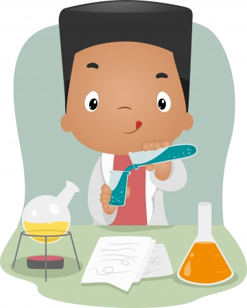 Illustration of a Boy Mixing Chemicals in a Laboratory illustration