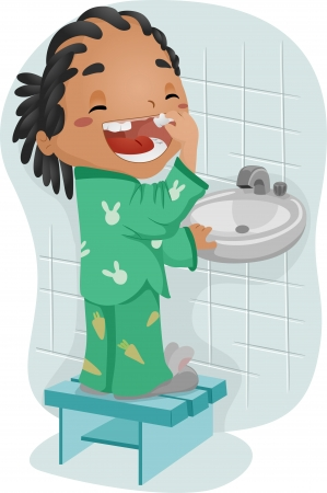 Illustration of a Boy Pulling a Loose Tooth illustration