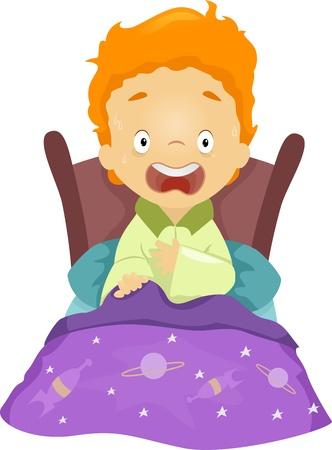 Ilustración de un muchacho que despierta de una pesadilla