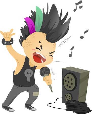 Illustration of a Boy Dressed as a Rockstar Singing in front of a Loudspeaker illustration