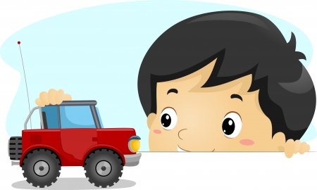 Illustration of a Boy Playing with a Toy Truck illustration
