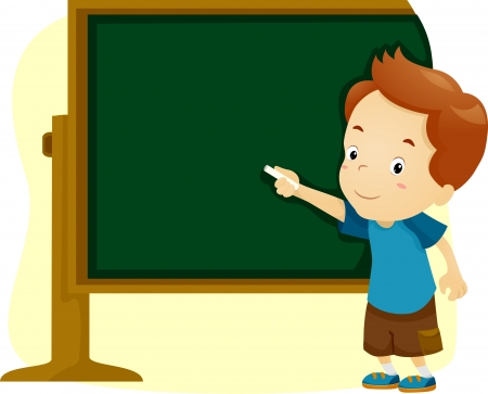 Illustration of a Boy Writing on a Blackboard illustration