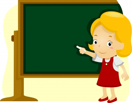 Illustration of a Girl Writing on a Blackboard illustration