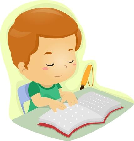 braille: Ilustraci�n de un ni�o ciego que lee un libro escrito en braille Foto de archivo