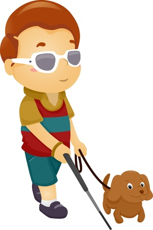 Illustration of a Blind Boy Being Guided by a Seeing Eye Dog illustration