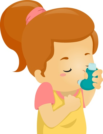 breathing: Illustration of an Asthmatic Girl Using an Inhaler