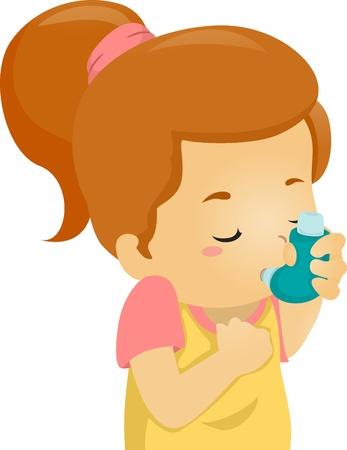 asma: Ilustración de una niña asmática uso de un inhalador Foto de archivo
