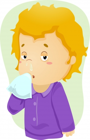 flu: Illustration of a Boy Down with Cold with Mucus Dripping from his