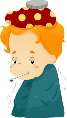 enfant malade: Illustration d'un gar�on malade envelopp� dans une couverture et avec une compresse sur sa t�te