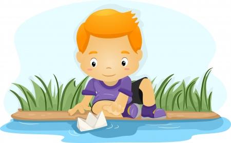 barco caricatura: Ilustración de un muchacho empuja un barco de papel por un río