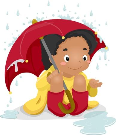 lluvia paraguas: Ilustración de una chica que llevaba un impermeable y un paraguas que lleva jugando en la lluvia