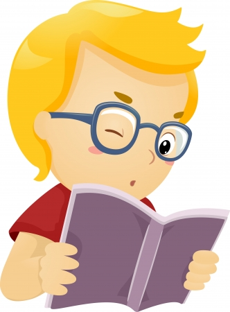 Illustration of a Glasses Wearing Boy Reading a Book illustration
