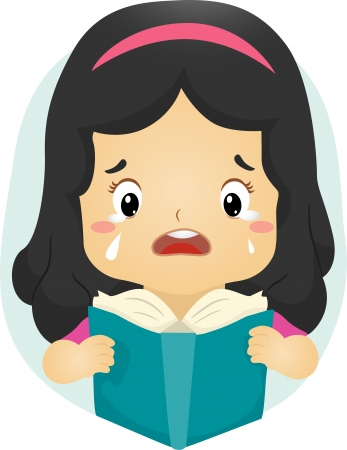 Illustration of a Tearful Girl Reading a Book illustration