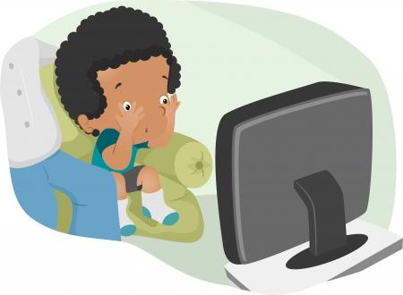 suspenso: Ilustración de un muchacho nervioso viendo un programa de televisión Scary