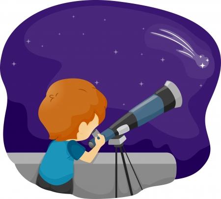 Illustration of a Boy Using a Telescope for Stargazing illustration