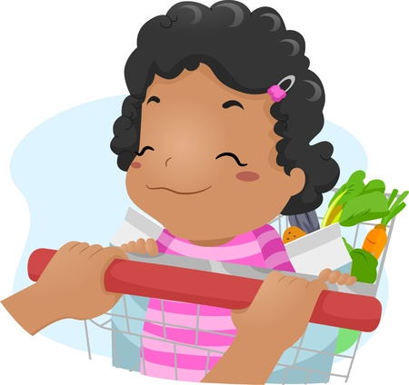 glad: Illustration of a Smiling Baby Girl Riding a Shopping Cart Stock Photo