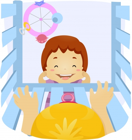 babysit: Illustration of a Baby Reaching Out to a Kid Outside Her Crib