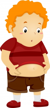 belly fat: Illustration of an Overweight Kid Holding His Bulging Belly