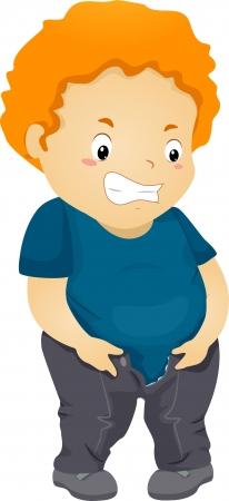 jeans apretados: Ilustración de un niño regordete Who Can