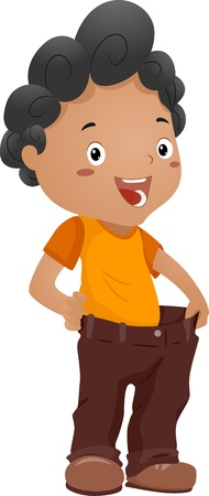 downsizing: Illustration of a Boy Proudly Demonstrating the Weight He Lost Stock Photo