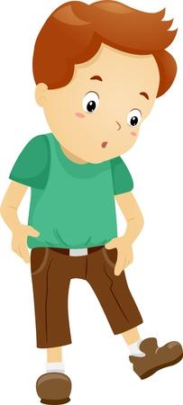 pubertad: Ilustración de un muchacho sorprendido al ver sus pantalones se han reducido Foto de archivo