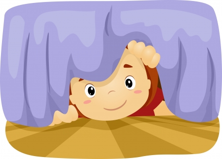 finding: Illustration of a Boy Taking a Peek Under the Bed