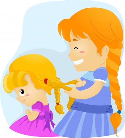 plait: Illustration of a Big Sister Tying Her Younger Sister