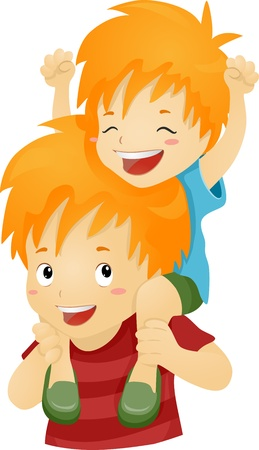 Illustration of a Big Brother Giving His Younger Brother a Piggy Back Ride Stock Illustration - 16174426